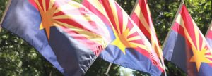 Arizona State flags in Capitol courtyard